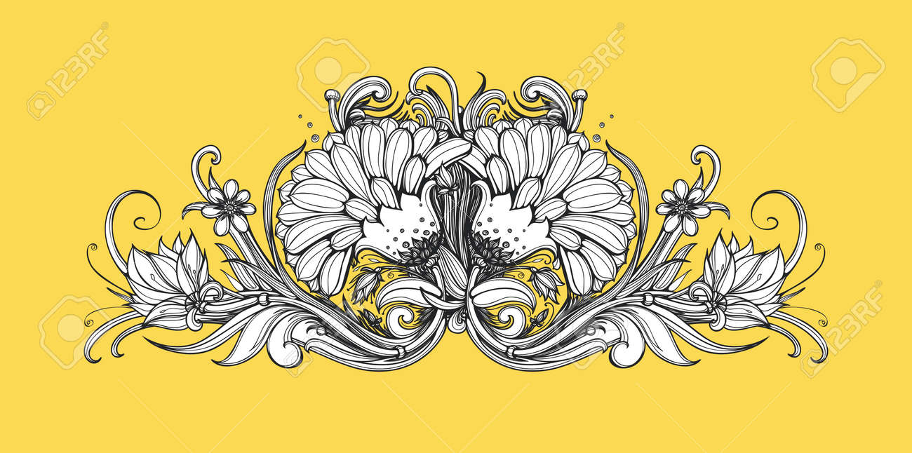 Vector Horizontal Floral Frame Black And White Flowers Pattern