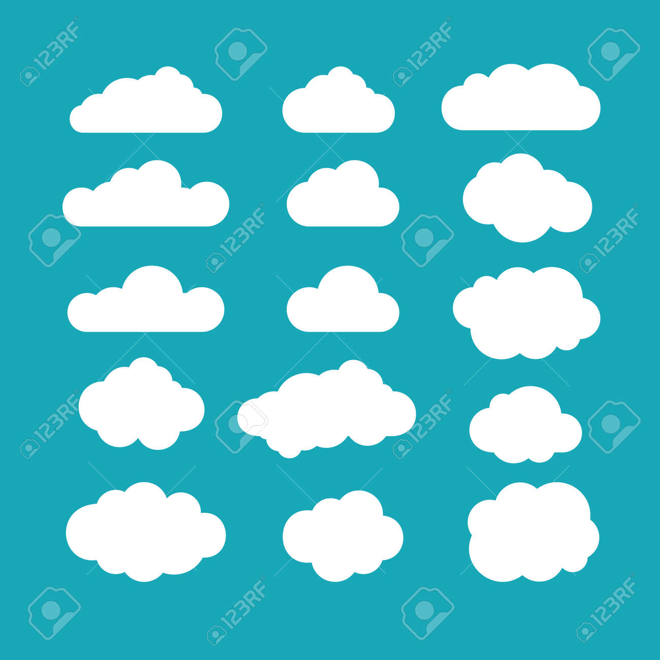 Set of blue sky, clouds. Cloud icon, cloud shape. Set of different clouds. Collection of cloud icon, shape, label, symbol. Graphic element vector. Vector design element for logo, web and print. - 56416893