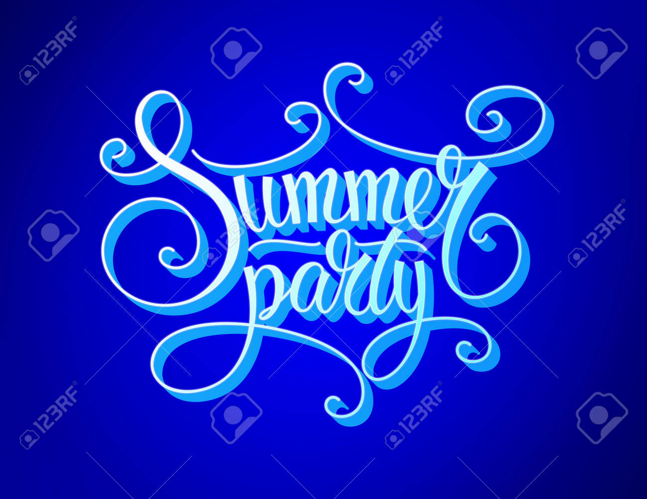 Blue background for summer party lettering designs. summer party