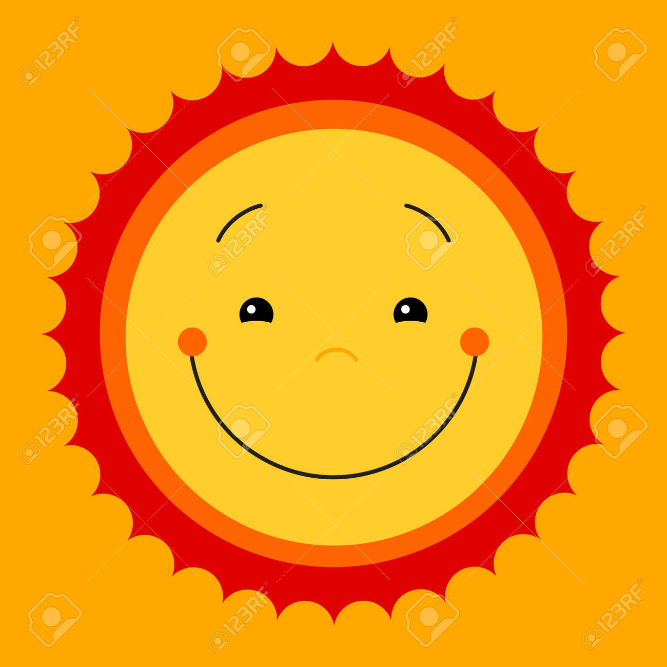 Vector Modern Yellow Smiling From Ear To Ear Fun Happy Sun Sign