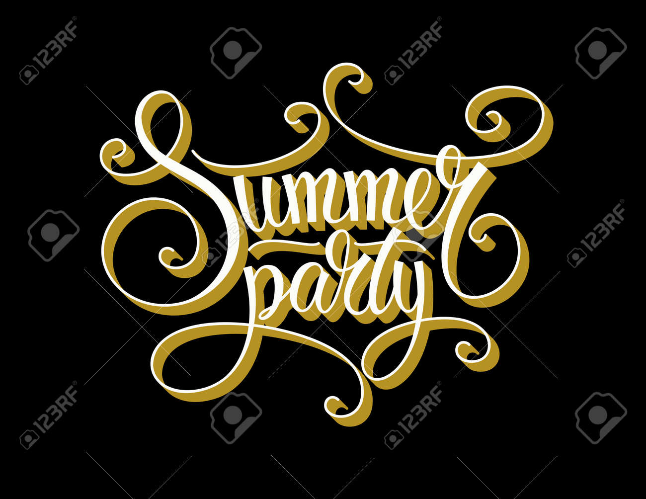 Vector vintage calligraphic summer party text vector vintage