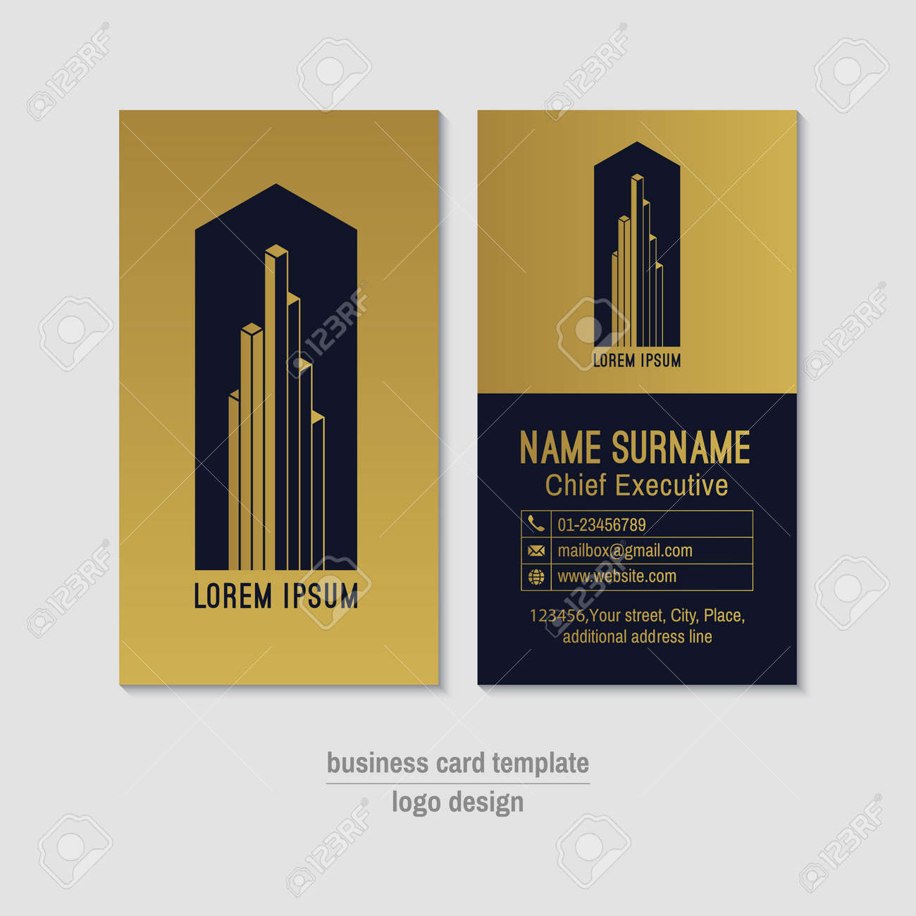Abstract vertical vector business card template gold and blue abstract vertical vector business card template gold and blue business card layout corporate business reheart Gallery