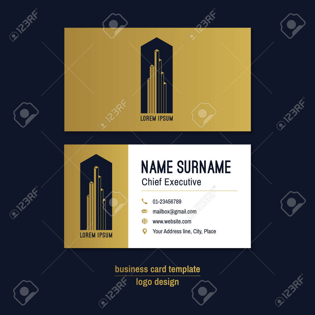 Abstract horizontal vector business card template gold blue abstract horizontal vector business card template gold blue white business card layout wajeb