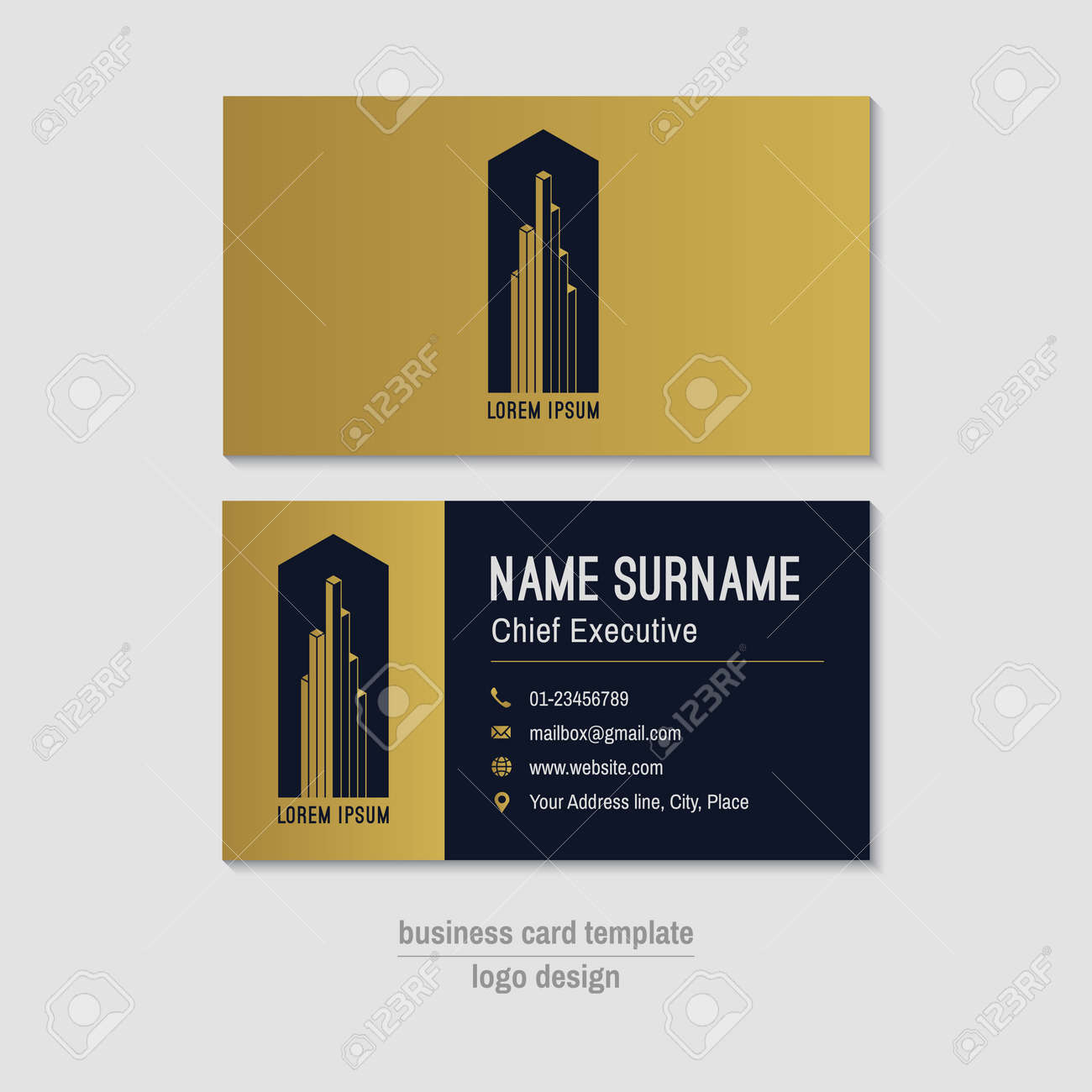 Abstract horizontal vector business card template gold blue abstract horizontal vector business card template gold blue business card layout corporate business reheart Image collections