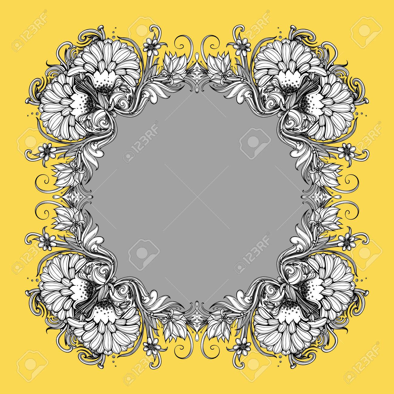 Marco Floral Del Vector. Diseño Floral Marco. Corona De Flores ...