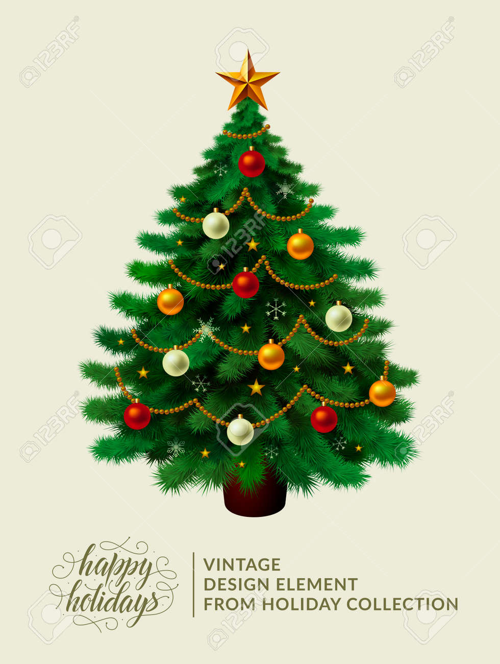 Vintage Christmas Tree With Xmas Decorations Ornaments Stars