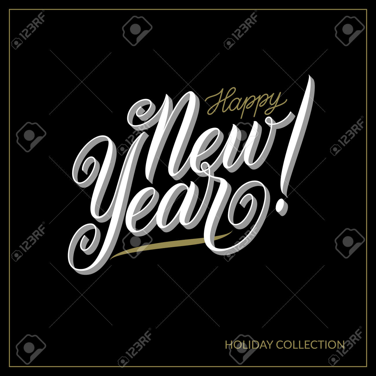 abstract black and white vector happy new year banner design template advertising logo and