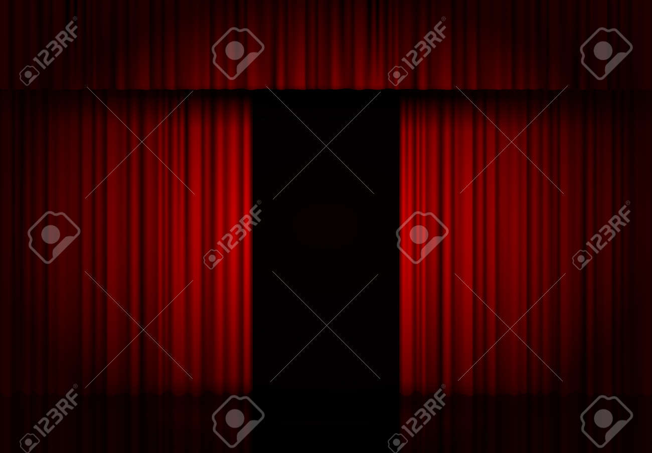 Curtain red vector isolated. Open drapery. Theater scene, opera, concert or cinema. 3d object. Curtain stage. Vector background. - 136979905