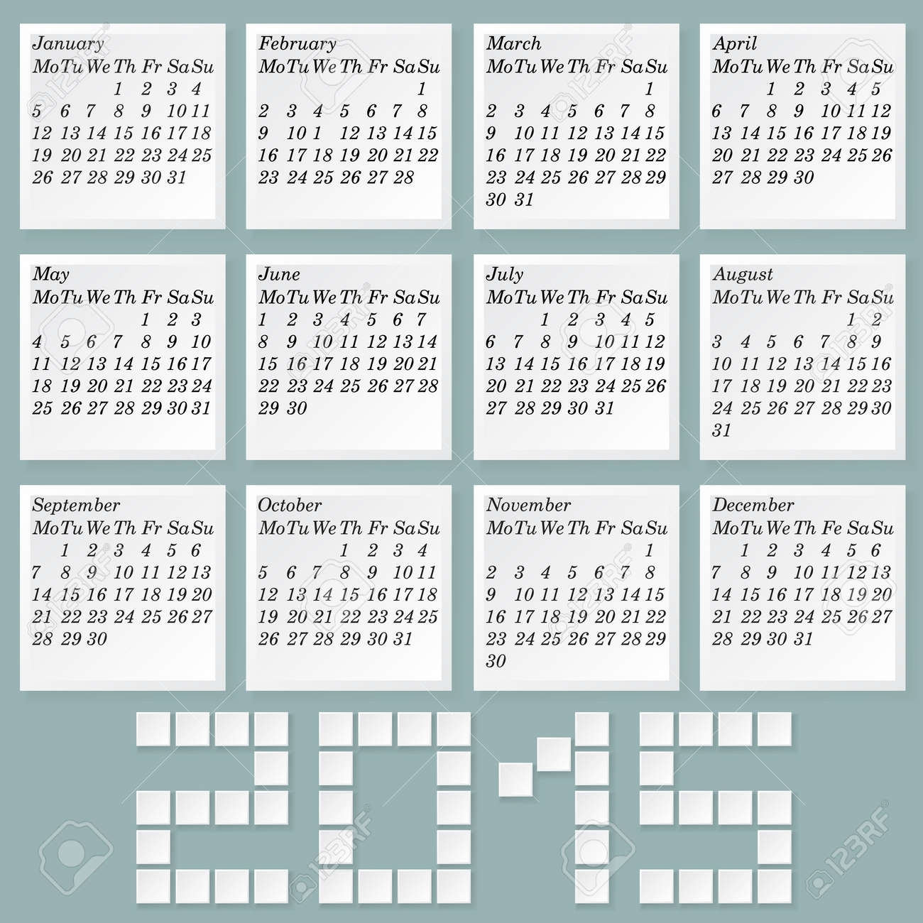 simple 2015 calendar months style notes with shadows week starts with monday without holidays