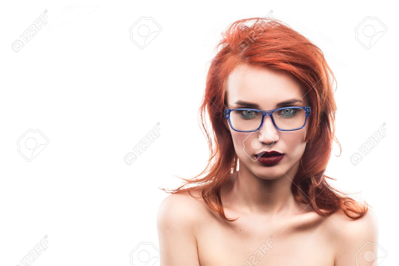 Eyewear Glasses Woman Portrait Isolated On White. Spectacle Frame ...