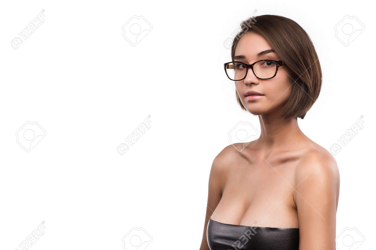 Eyewear Glasses Asian Caucasian Mixwd Race Young Big Breast Woman ...