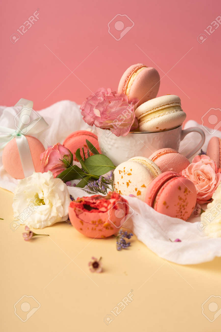 Pink And White Macaroons Cakes With Big And Small Flower Buds