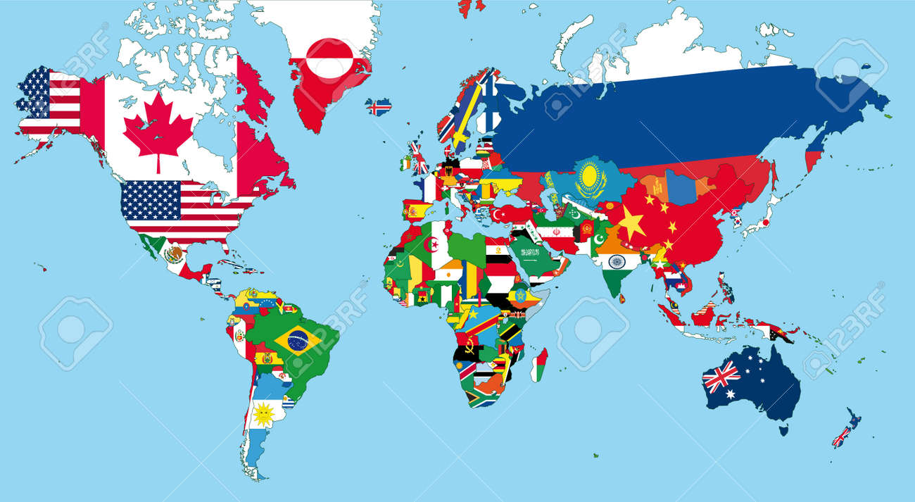 The World Map With All States And Their Flags Royalty Free - World map with states