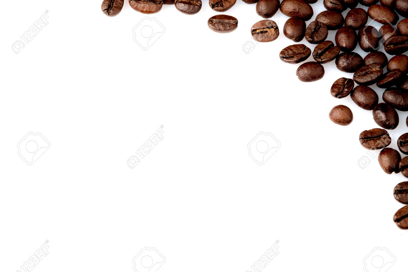 coffee bean espresso background corner isolated decoration cafe natural texture text brown aroma art style closeup white drink life