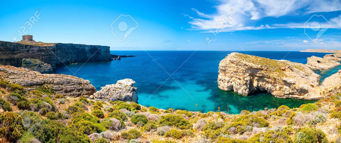 Blue Lagoon Malta Comino Island Picturesque Landscape With