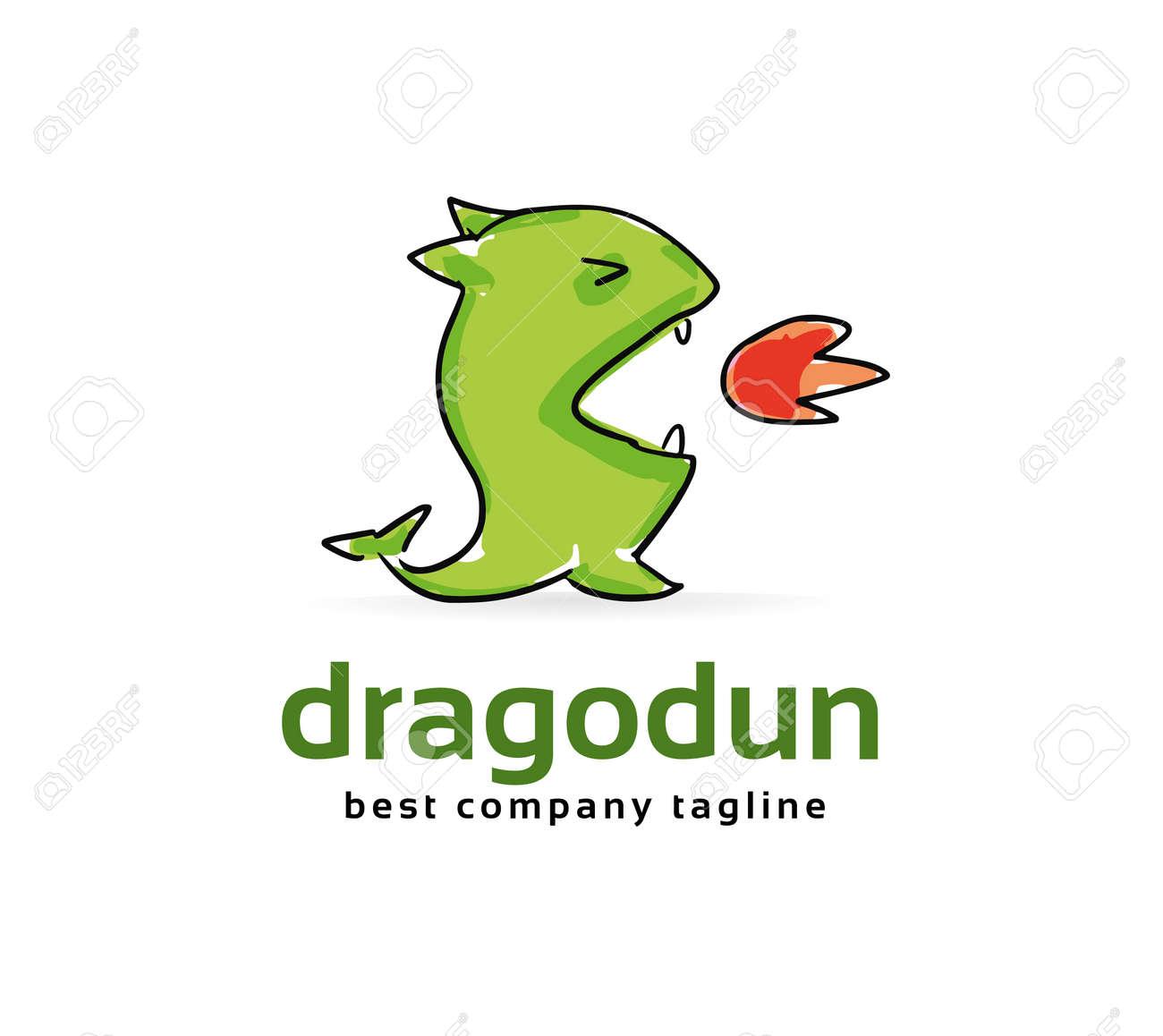 abstract vector dragon monster logo icon concept logotype template