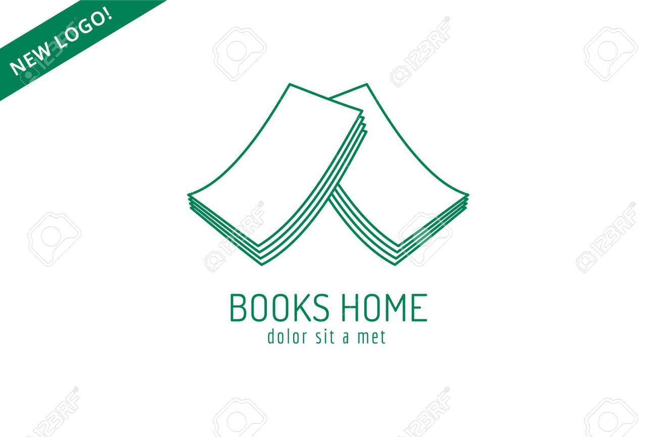 Libro Tejado De La Casa Plantilla Logotipo Icono. De Vuelta A La ...