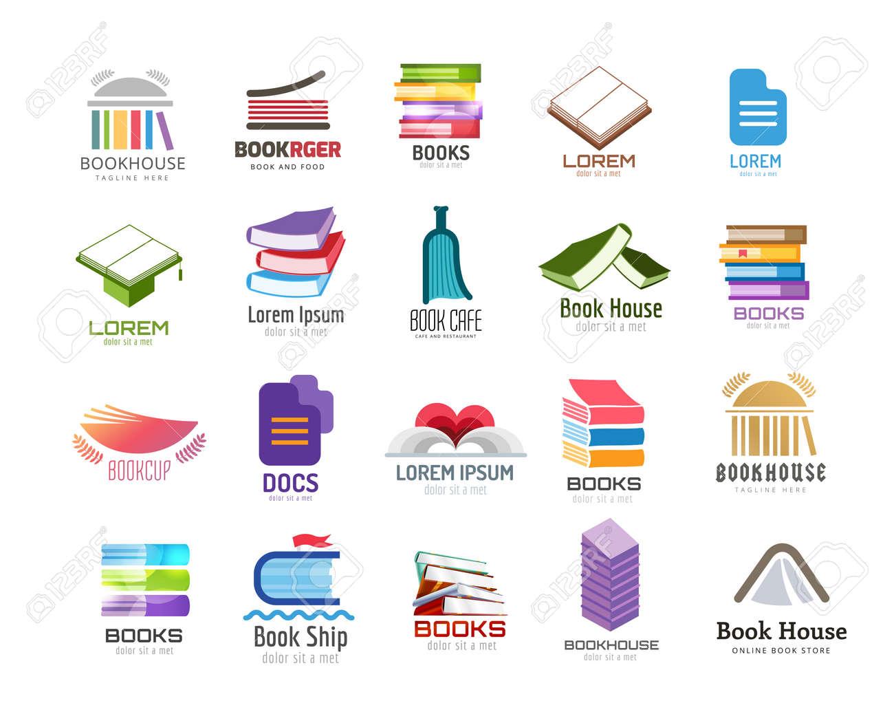 Buch Vektor-Logo-Vorlage Festgelegt. Zurück Zur Schule. Bildung ...