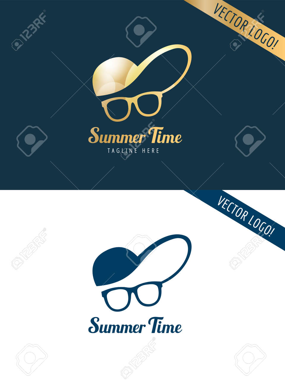 Face With Glasses And Cap Logo Icon Template Hipster Summer Man