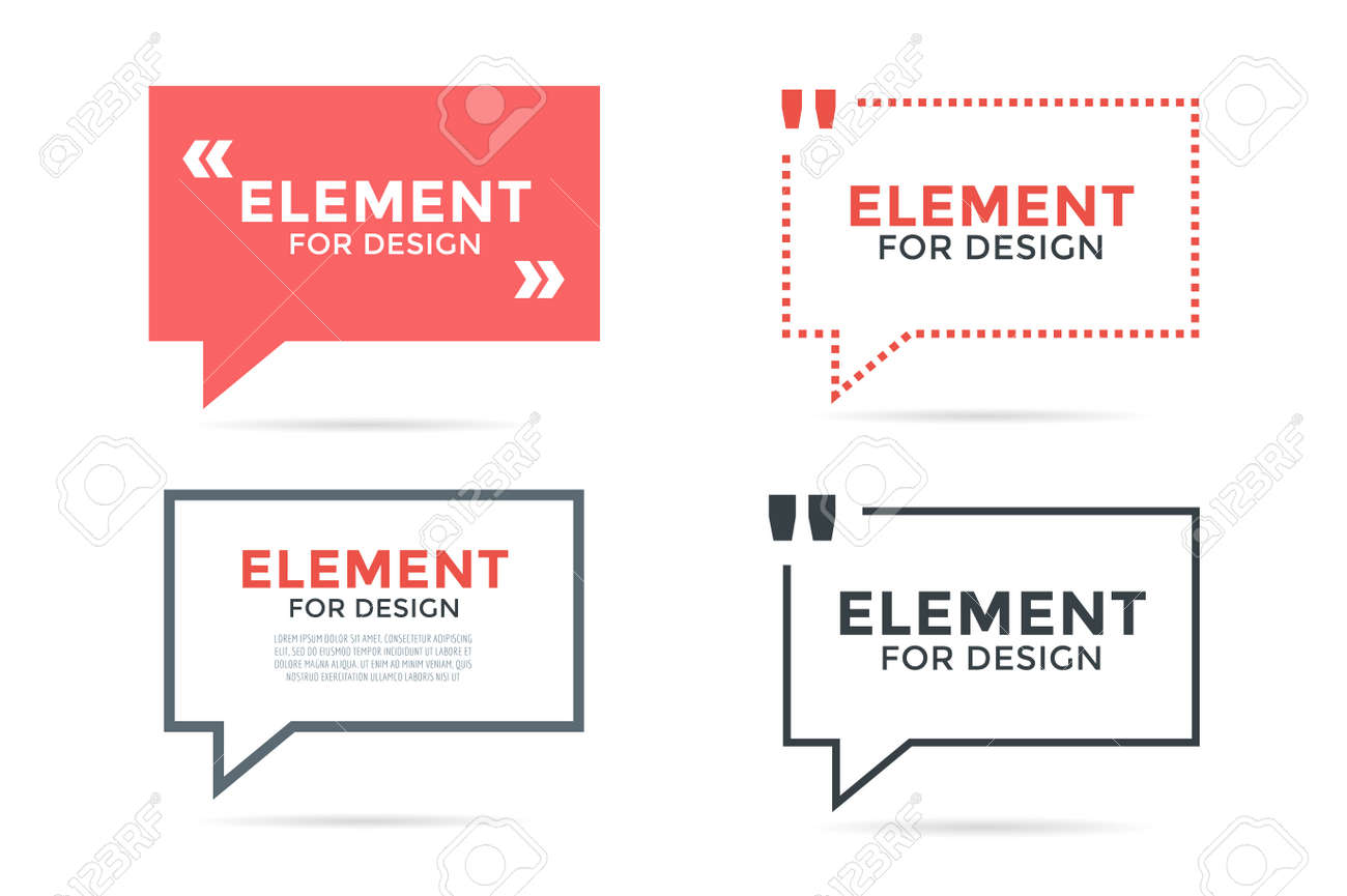 Quote Blank Template Set Quote Bubble Empty Template Circle - Business card blank template