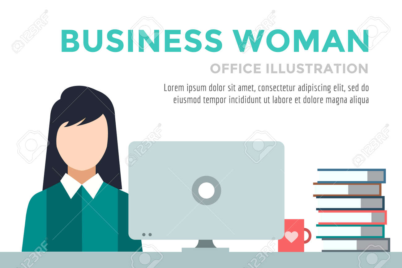 Mujer De Negocios Silueta. Infografía Trabajo Empresaria. Gente En ...