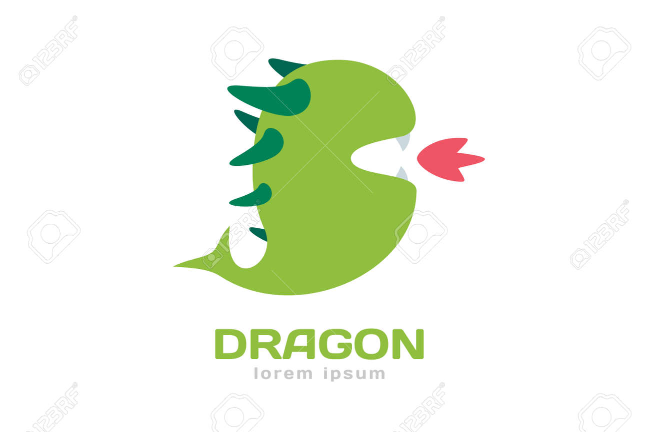 Cute Dragon Silhouette Logo Icon Logotype Crocodile Vector Open Mouth With