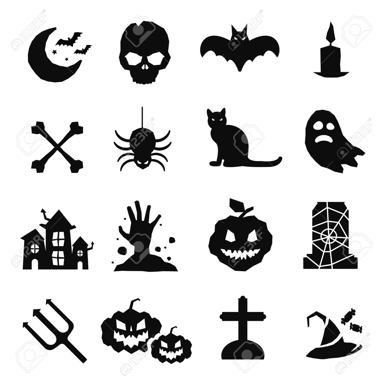 halloween vector icons set pumpkin head witch broom candy rh 123rf com Free Halloween Vector Graphics Halloween Cartoon Vector Free