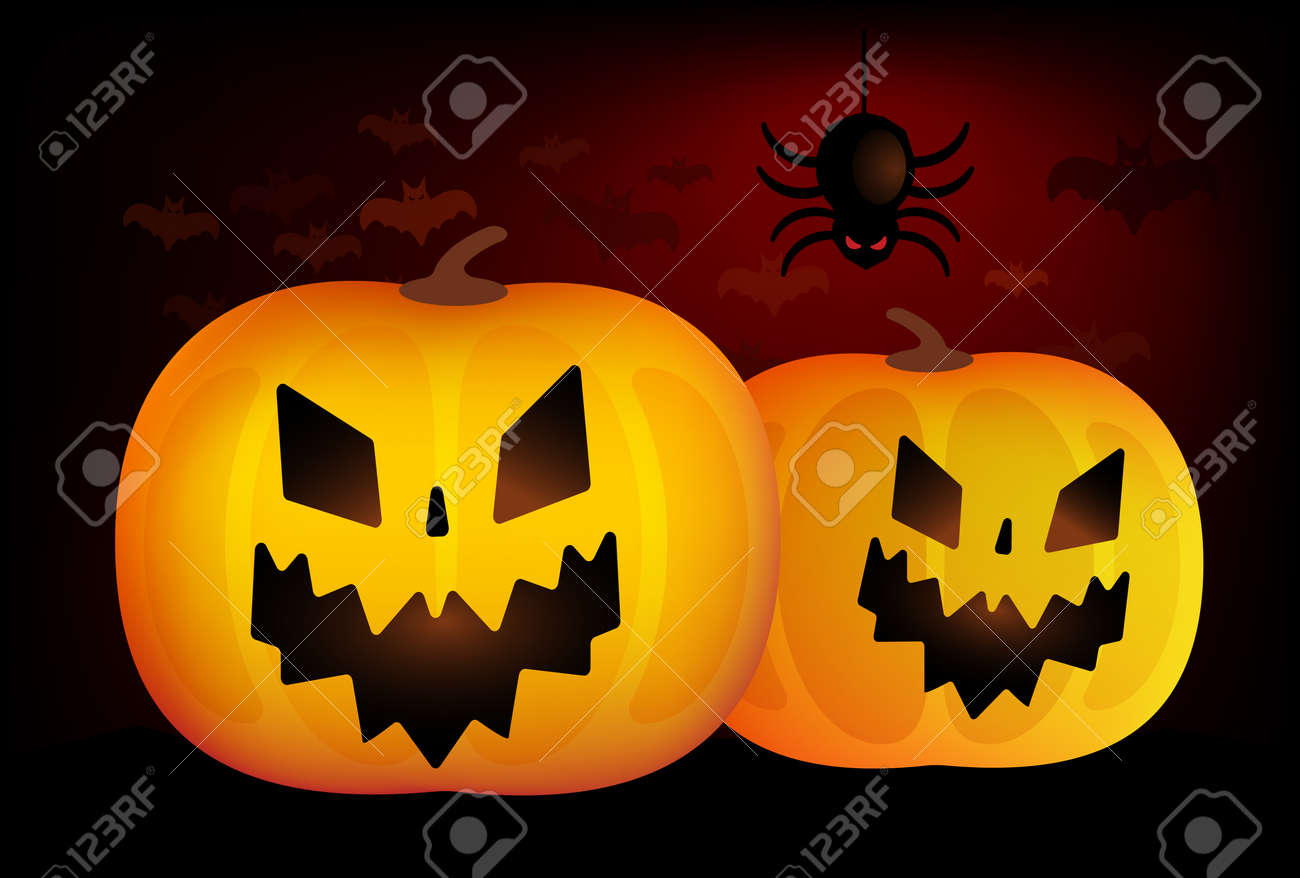 Two Vector Helloween Pumpkins Head Isolated On Blackbackground ...