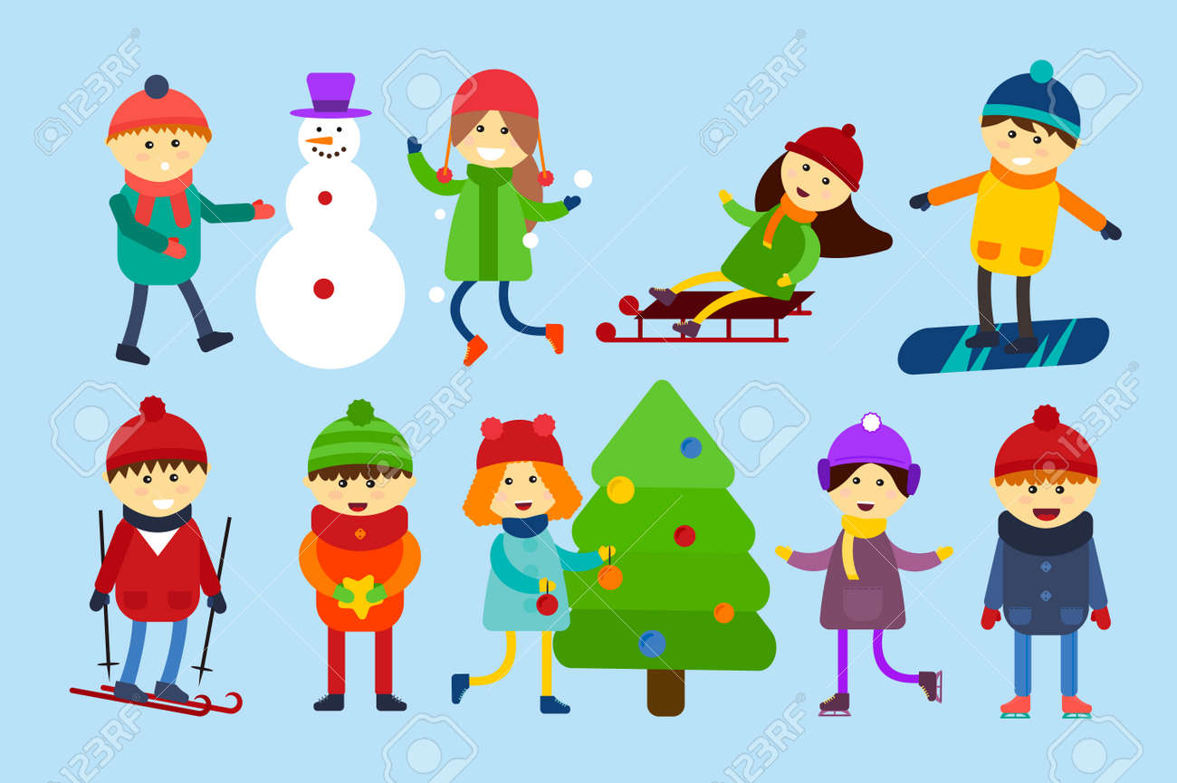 Winter Holidays Background. Christmas Kids Playing Winter Games ...