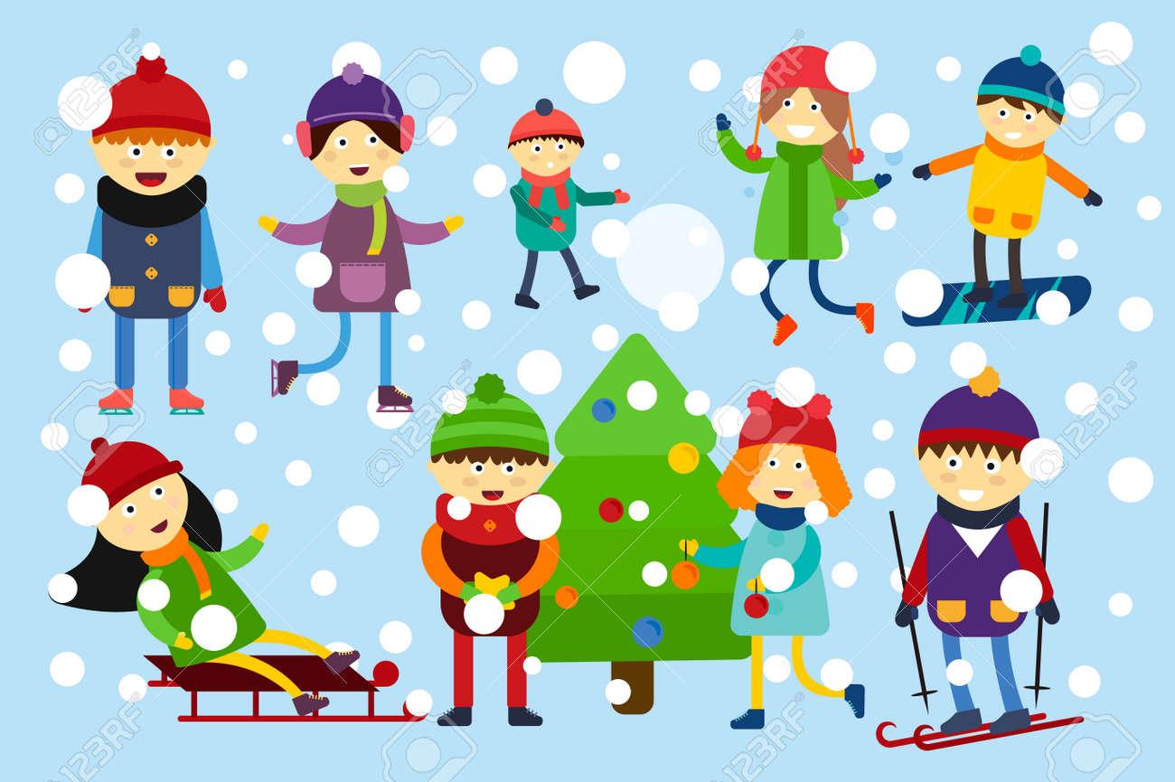 Winterurlaub Hintergrund. Weihnachten Kinder Spielen Winter-Spiele ...