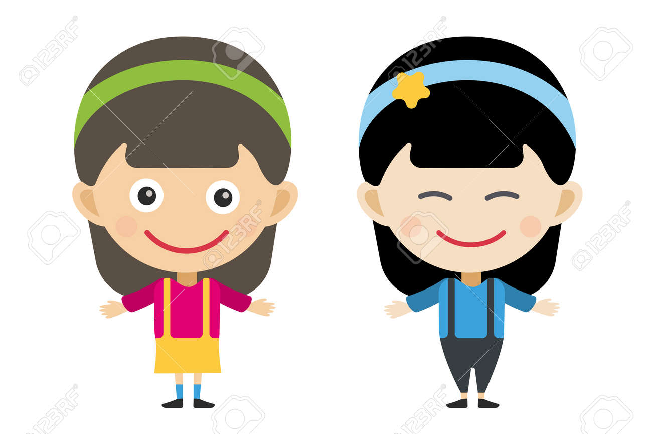 japanese and indian cartoon vector girls in different costumes rh 123rf com download vector cartoon characters vector cartoon characters free download
