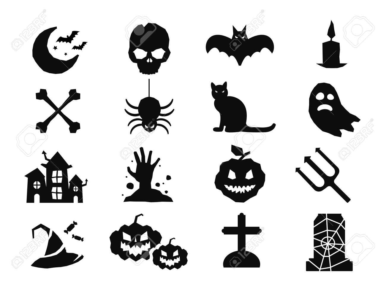 Halloween Vector Black And White.Halloween Vector Icons Set Pumpkin Head Witch Broom Candy