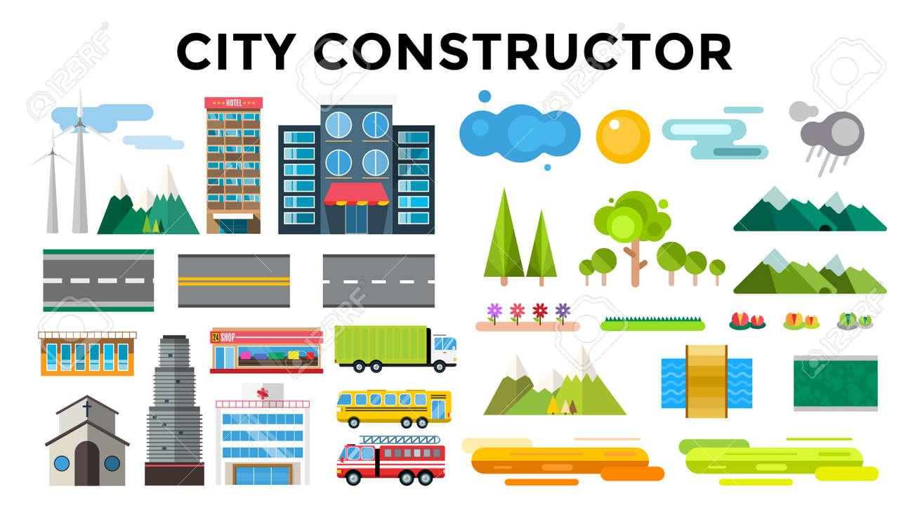 建物や都市交通フラット スタイル イラストフラットなデザインの街