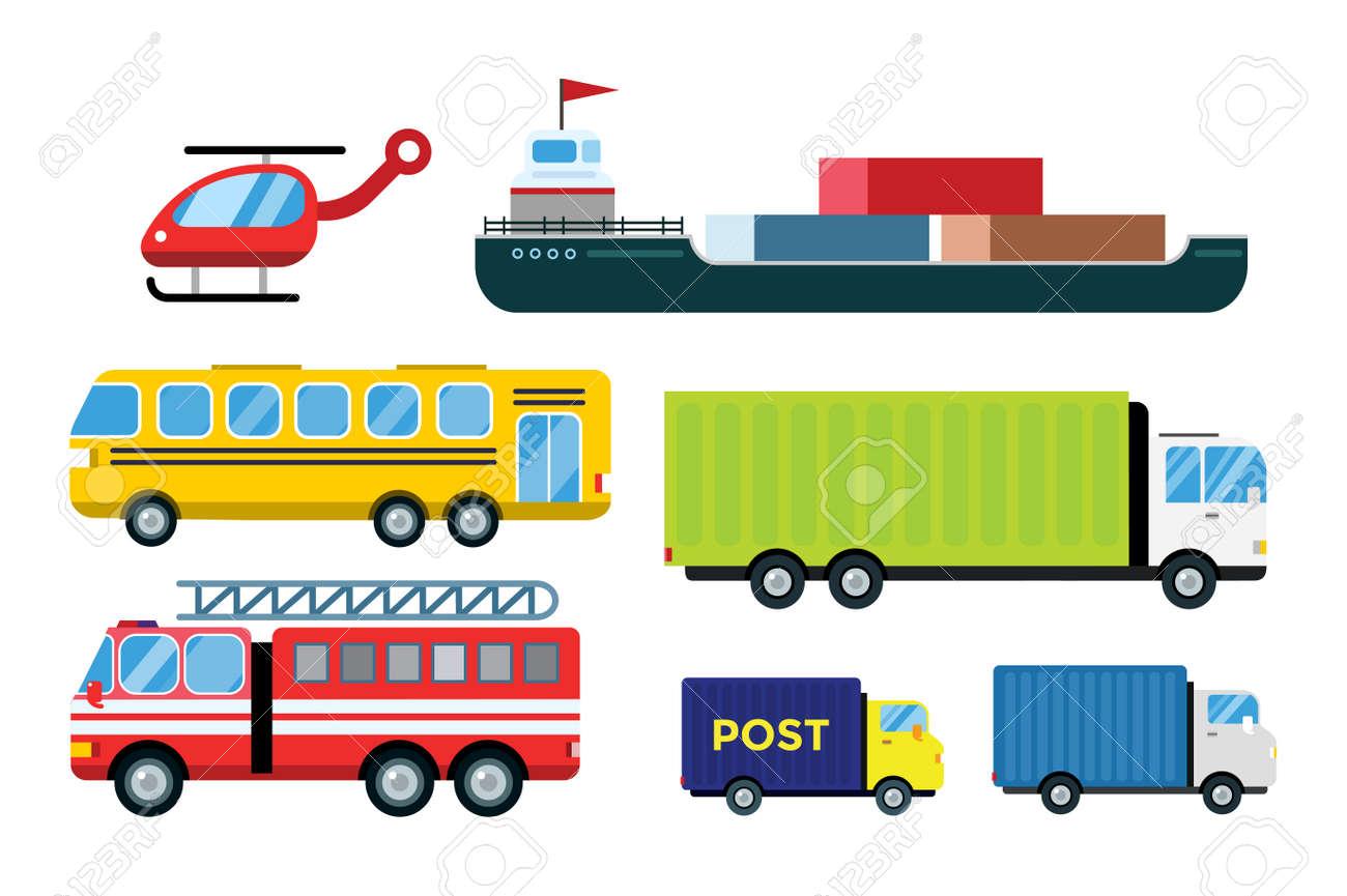 Consegna trasporto camion vettore isolato su bianco auto trasporto bus camion furgoni