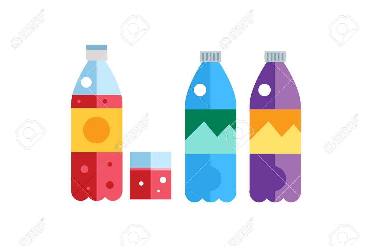 水、ソーダ、ジュースやお茶のペットボトルはベクトル イラストです