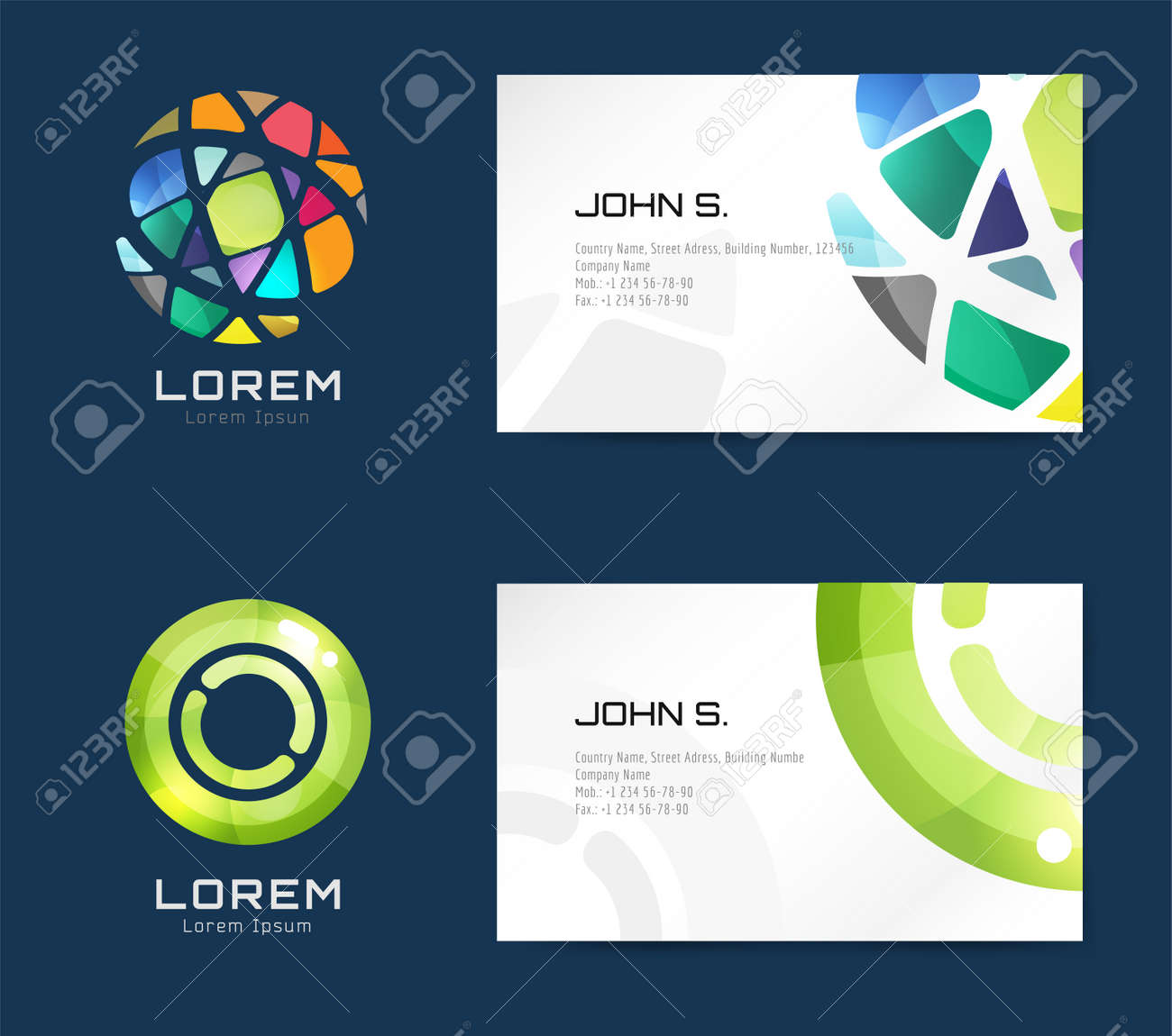 Vector business card template set globe and ring logo icons vector vector business card template set globe and ring logo icons abstract geometric low poly design and creative identity cards plank paper print accmission Images