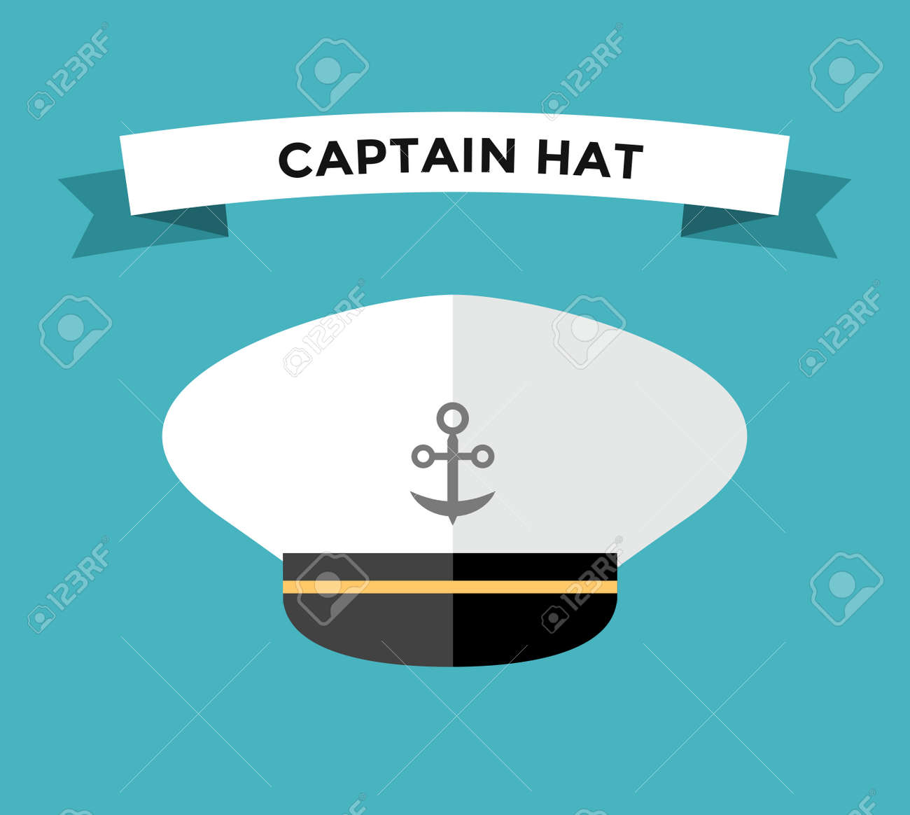 Captain hat flat vector icon  Sailor cap vector flat icon  Flat