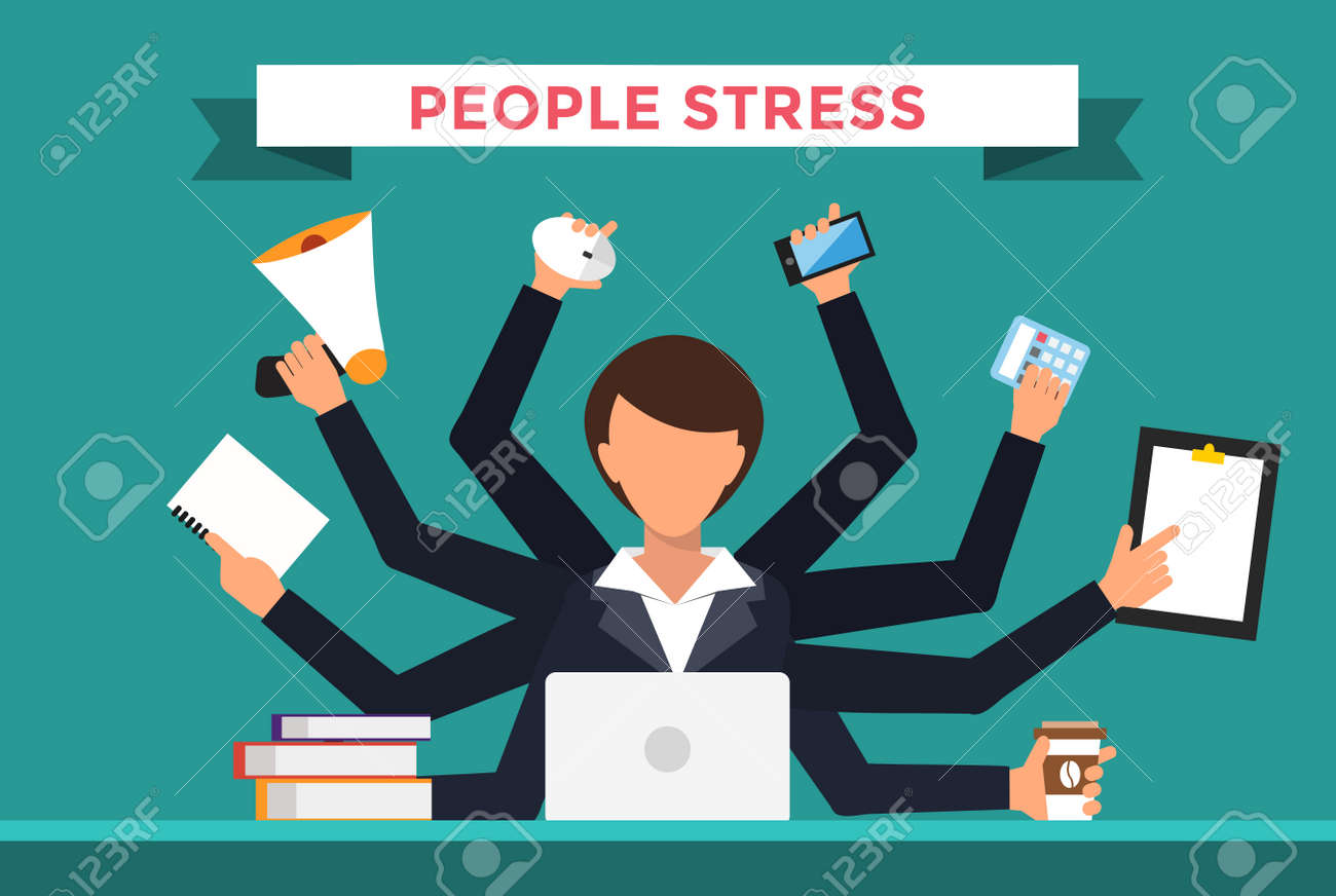 office job stress work vector illustration stress on work office job stress work vector illustration stress on work business w day office
