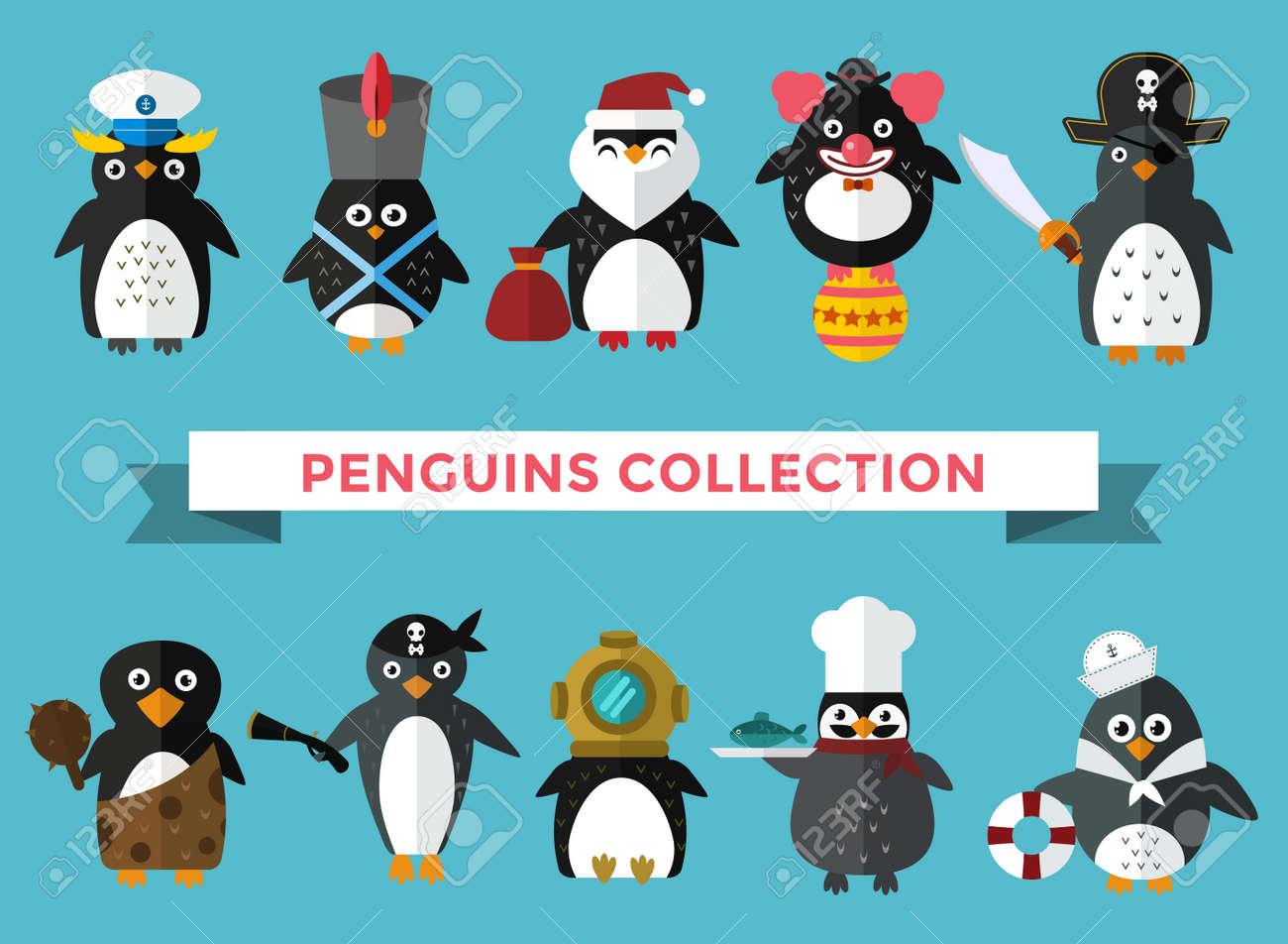 penguin set vector illustration cartoon funny penguins different