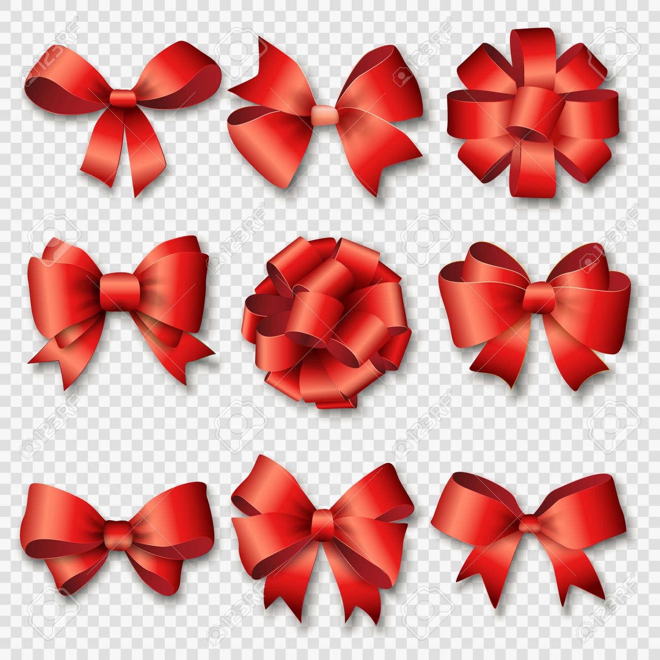 Farbbänder Für Weihnachtsgeschenke Gesetzt. Red Geschenk Bögen Mit ...