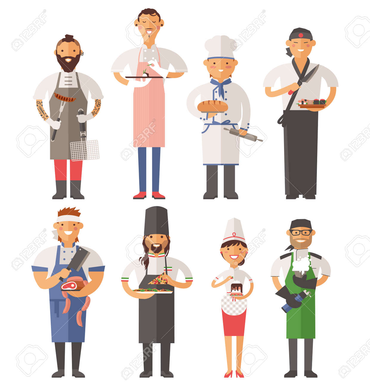 Vector Cooking Chefs Vector Illustration. Cartoon Cook Chefs ...