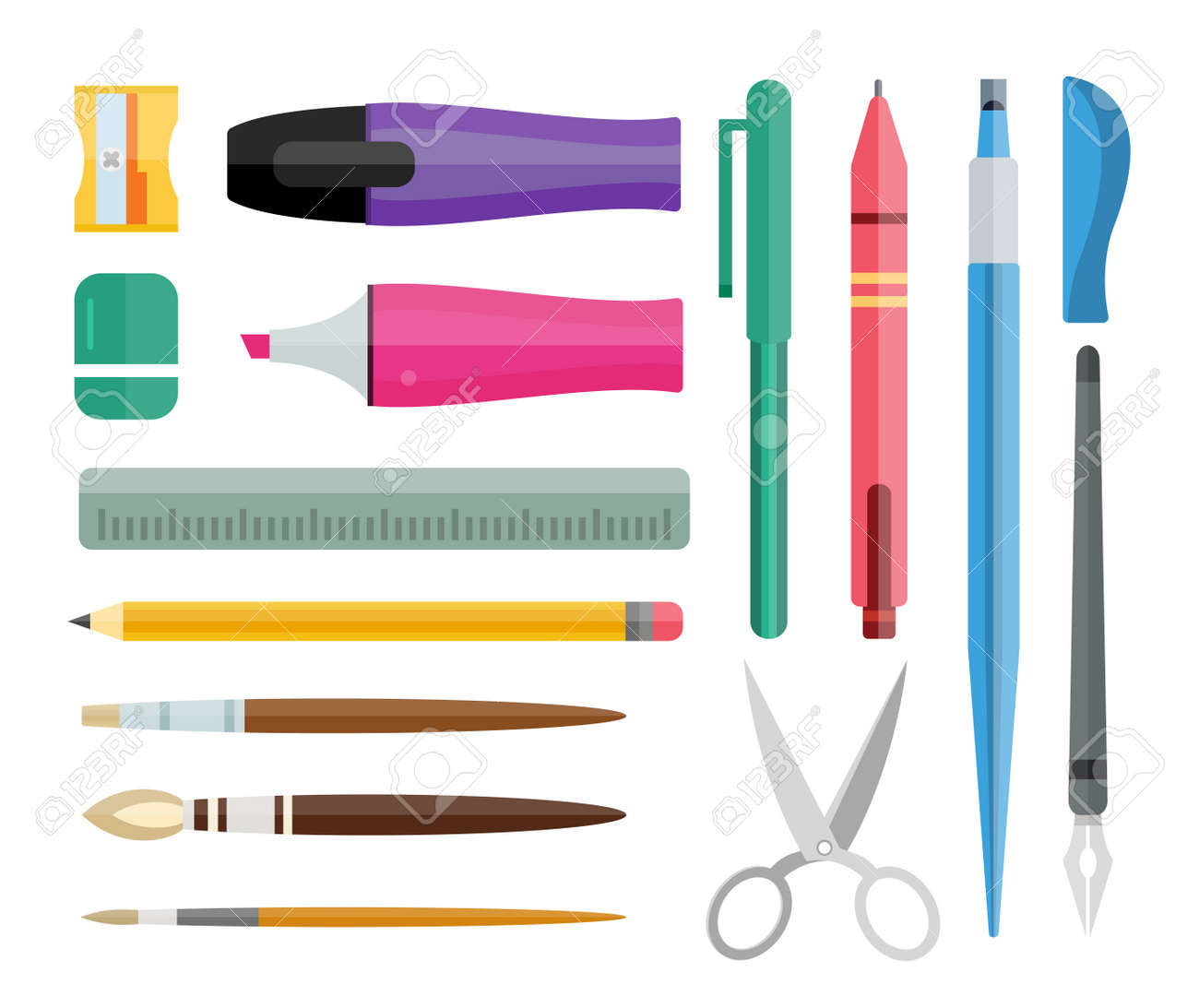 office drawing tools. flat stationery drawing tools pen set paintbrushes felttip pencil and office
