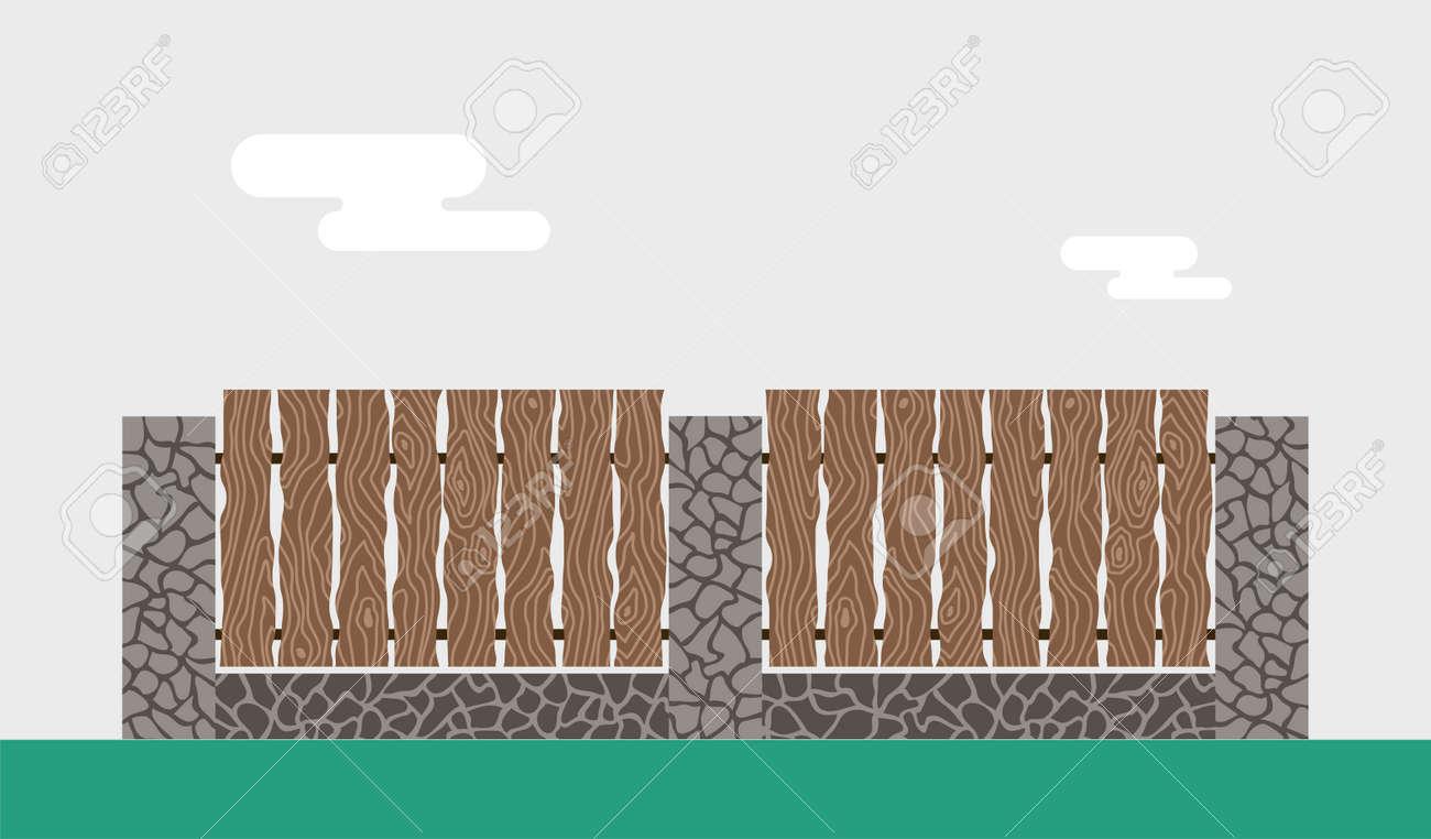 Holz Und Stein Zaun Isoliert Auf Den Hintergrund Zaune Vektor