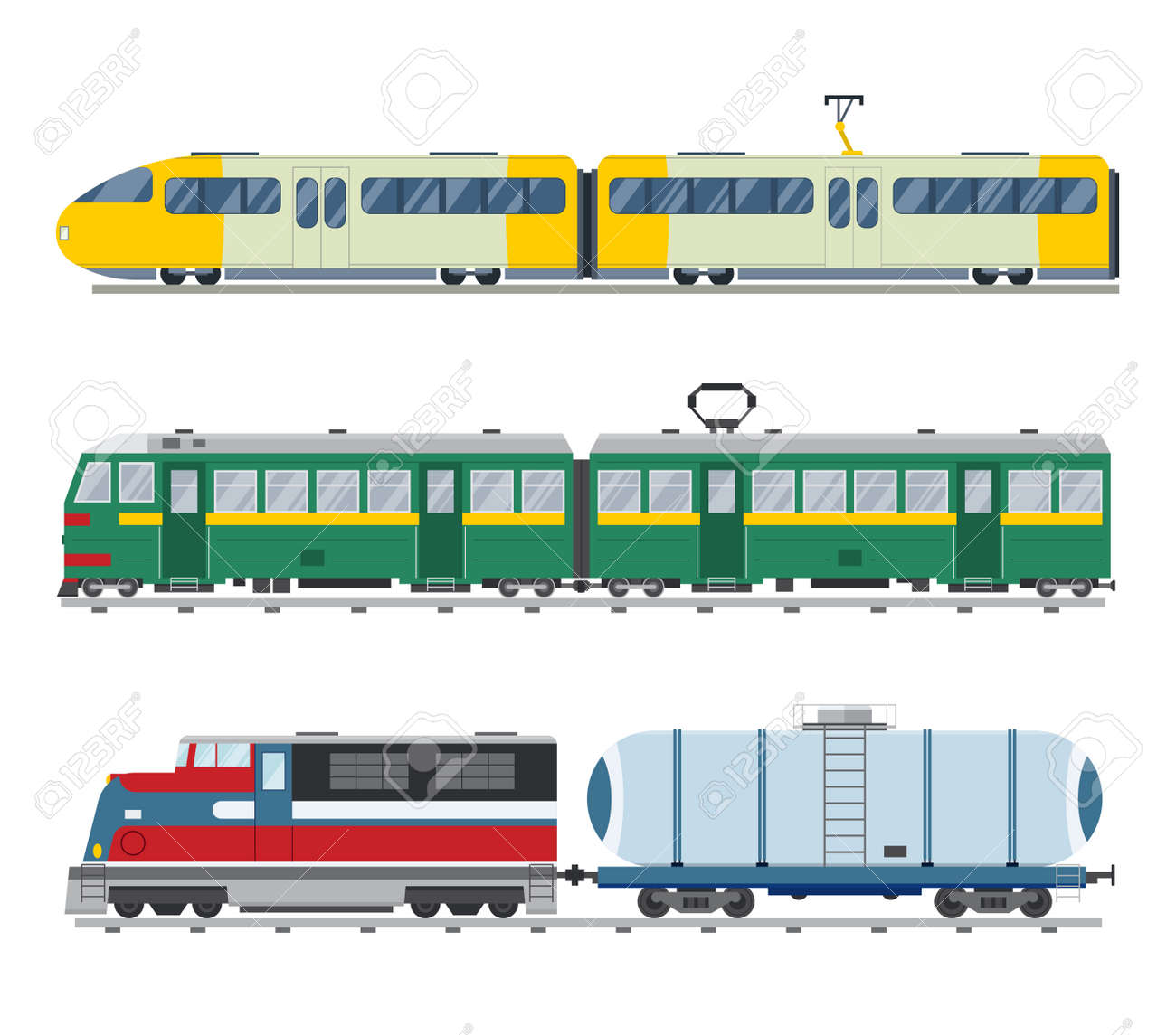 Modern and vintage trains vector collection. Trains vector illustration on white background. Trains icons or silhouette isolated on white. Old and modern trains vector on railway. Travle by trains - 48084750