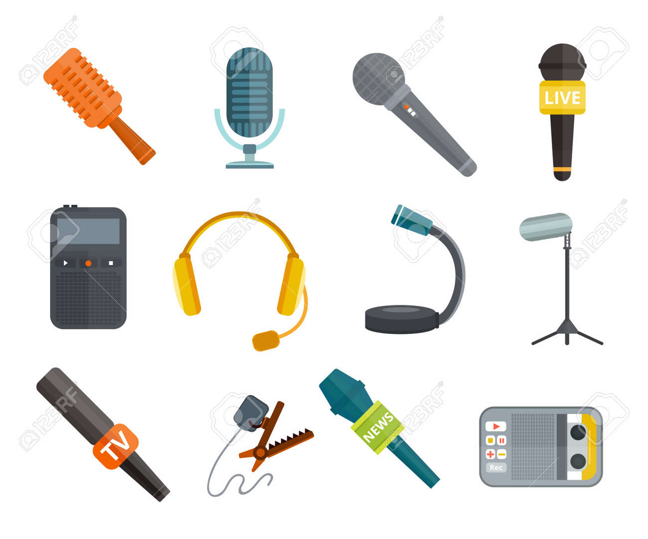 different microphones types vector icons journalist microphone different microphones types vector icons journalist microphone interview microphone music studio microphone