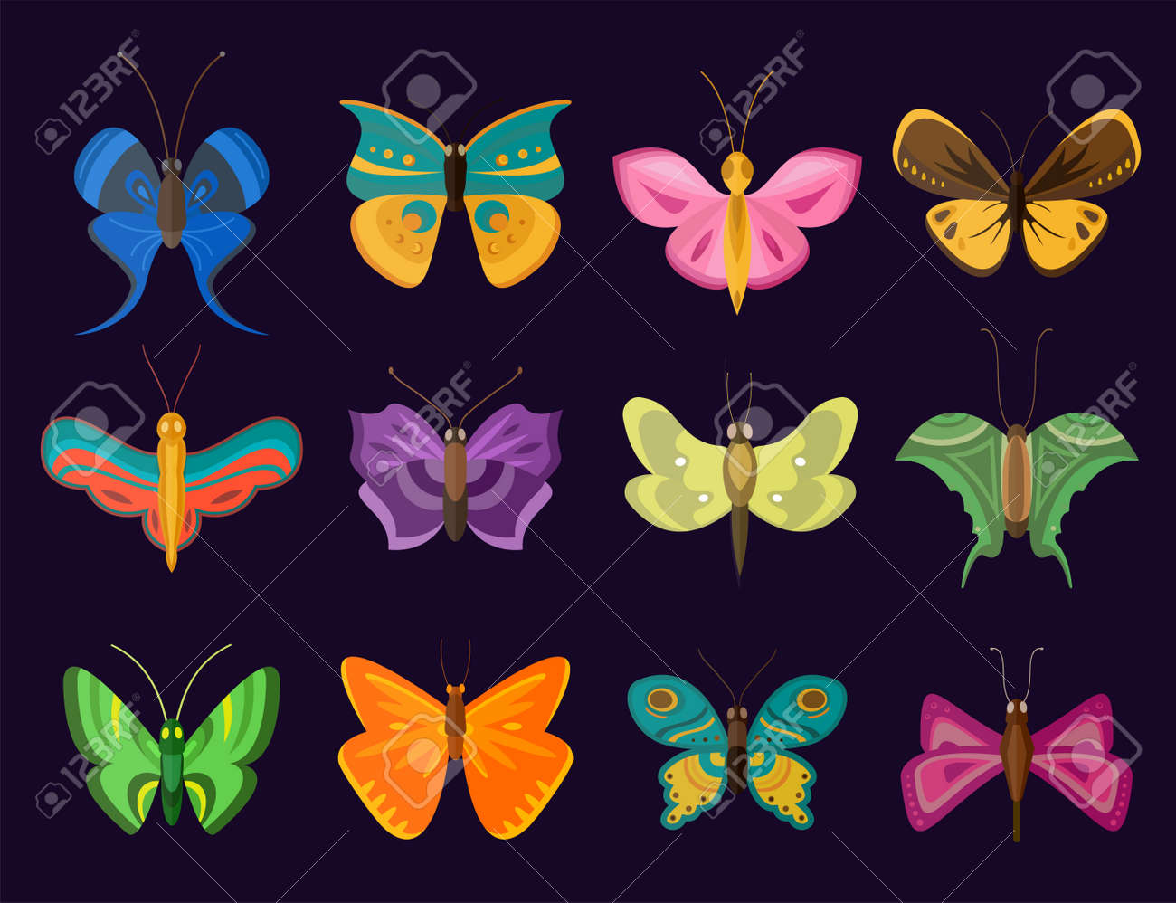 Colorful Butterflies Flat Style Vector Collection. Vector Butterfly ...