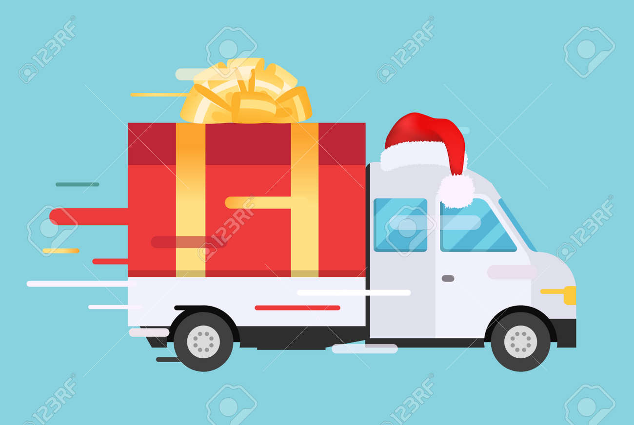 Delivery Vector Transport Truck Van With Gift Box Pack Delivery