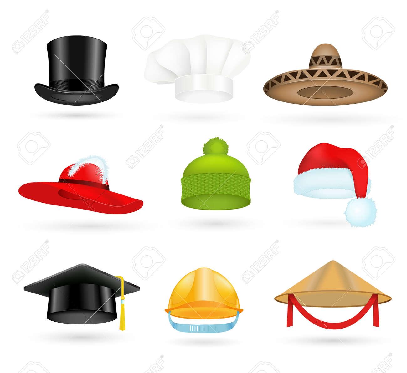 set of 3d top hats different professions. cartoon top hats. baseball