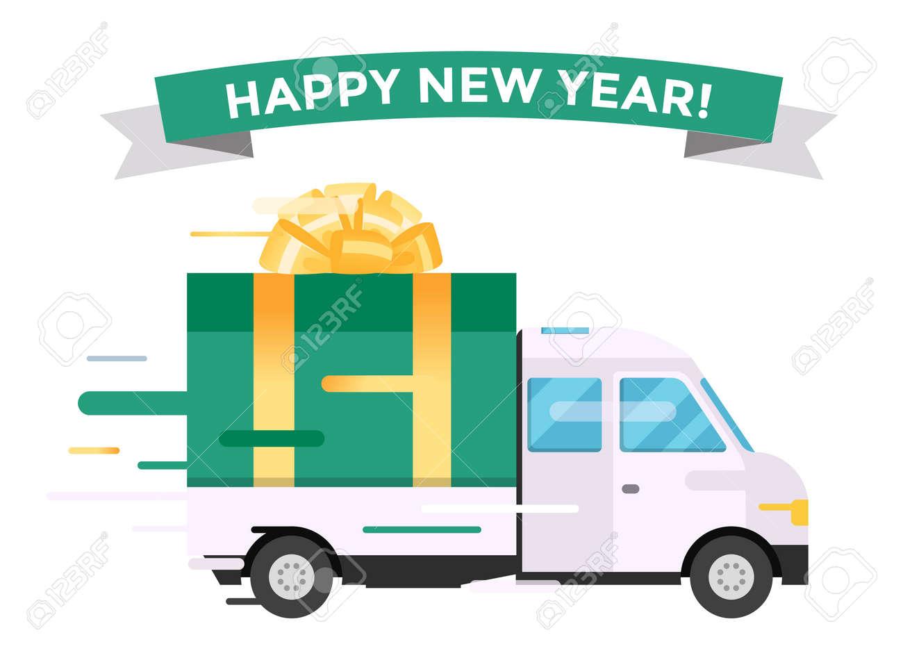 Delivery vector transport truck van christmas gift box bow ribbon delivery vector transport truck van christmas gift box bow ribbon delivery service van christmas greeting m4hsunfo