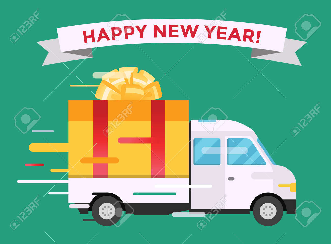 Delivery transport truck van christmas gift box bow ribbon delivery delivery transport truck van christmas gift box bow ribbon delivery service van new year greeting m4hsunfo